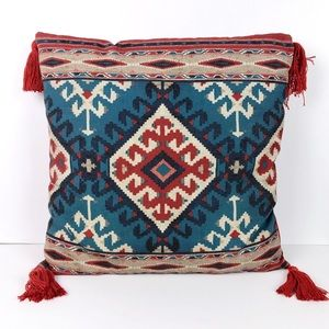 Red Blue Aztec Boho Pillow With Tassels